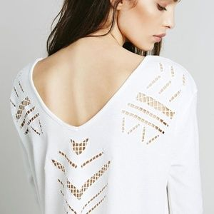 Free People | White Moonrise Long Sleeve Tee Small